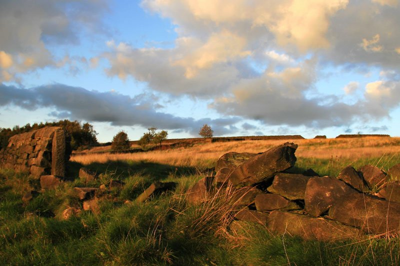 A dry stone wall in fields