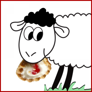 Cartoon sheep with Bakewell tart in its mouth